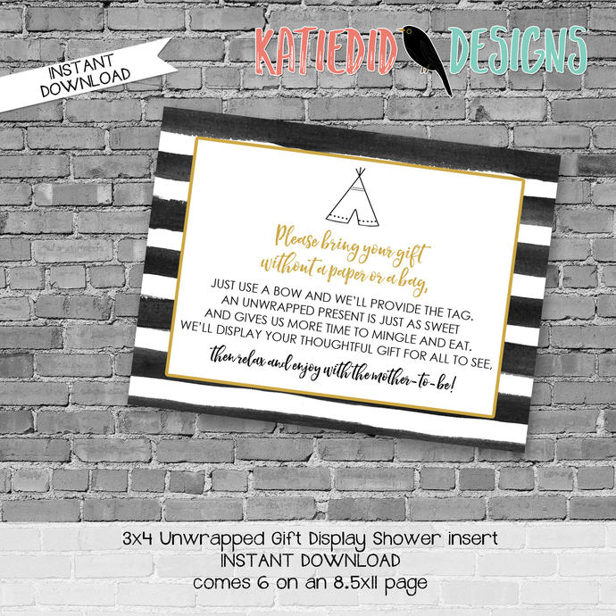 display shower insert | unwrapped gift enclosure card | where the wild things