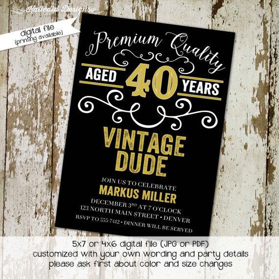40th Birthday Invitation Man Adults Only Vintage Dude Beer Mug Poker Whiskey