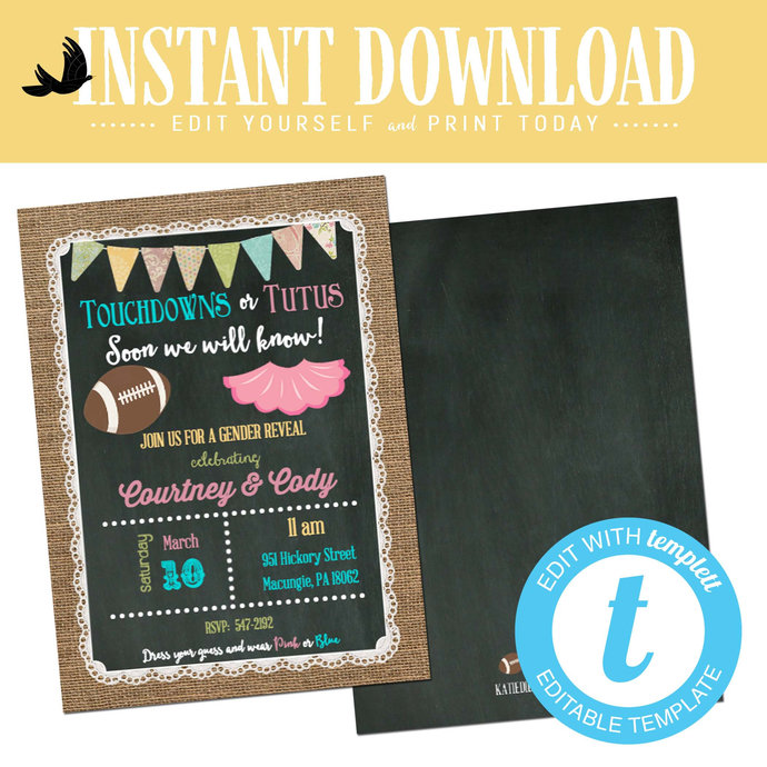 Gender Reveal Invitation Touchdowns Tutus Baby Shower Neutral Twin Football Coed Sprinkle Couples Burlap Editable Chalkboard