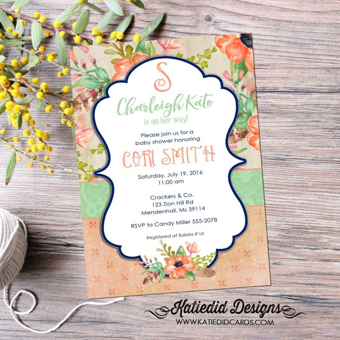 c234b8ff5f8a monogram baby shower invitation boho chic floral mimosas brunch bubbly  bridal