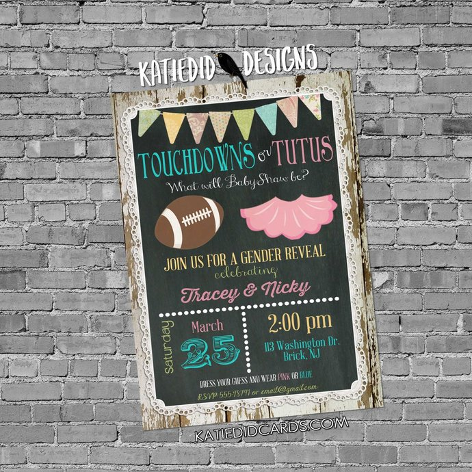 Football Gender Reveal Invitation Touchdown Tutu Twins Baby Shower Chalkboard Wood Lace Rustic Two Moms Birthday LGBT