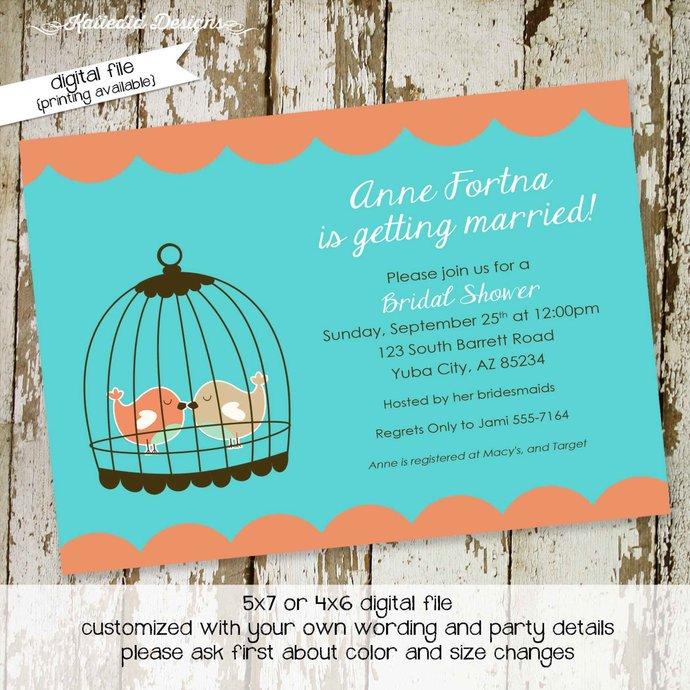 Couples shower invitation love birds cage bridal rehearsal dinner I do BBQ