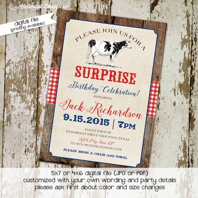 Country western birthday invitation cow farm rustic gingham patriotic red white