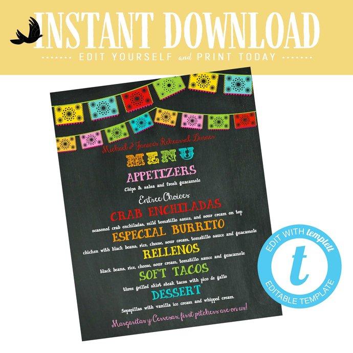 Fiesta printable menu rehearsal dinner wedding gender reveal baby shower bridal