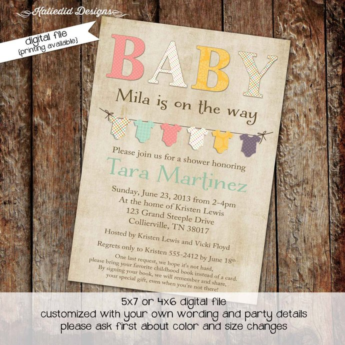 Gender reveal invitation neutral couples baby shower coed onesie bunting banner