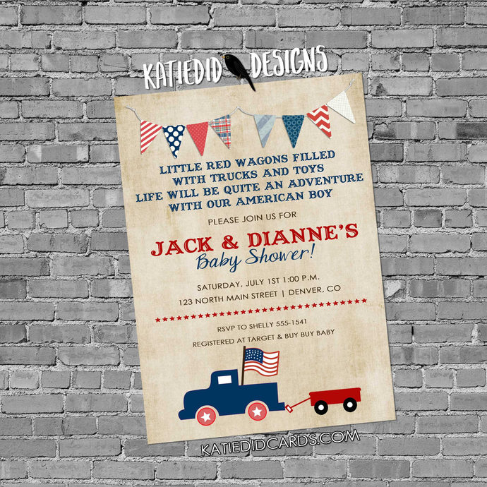 Patriotic birthday invitation retirement party vintage truck all american boy