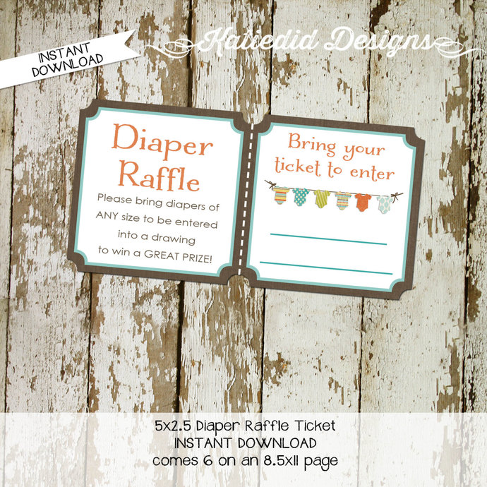 Diaper raffle ticket surprise gender reveal diaper and wipe brunch baby romper
