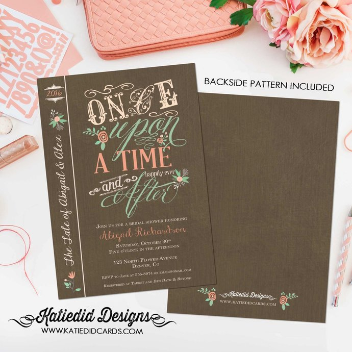 Couples shower Invitation happily ever after bridal Rehearsal Dinner I do BBQ