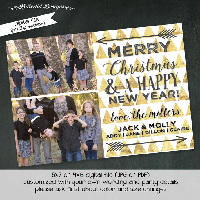 geometric christmas card holiday greeting picture card Happy new year holiday