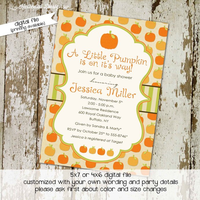 fall baby shower invitation Pumpkin halloween autumn patch birthday brother  sister twin gender reveal couple sprinkle sip   1405 katiedid