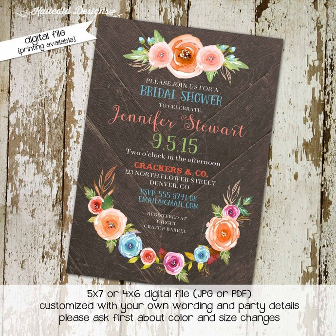 Couples Shower Invitation floral wood rustic wedding Rehearsal Dinner I do BBQ