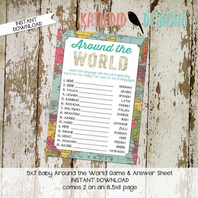 gender reveal party game around the world shower game Travel Themed oh the