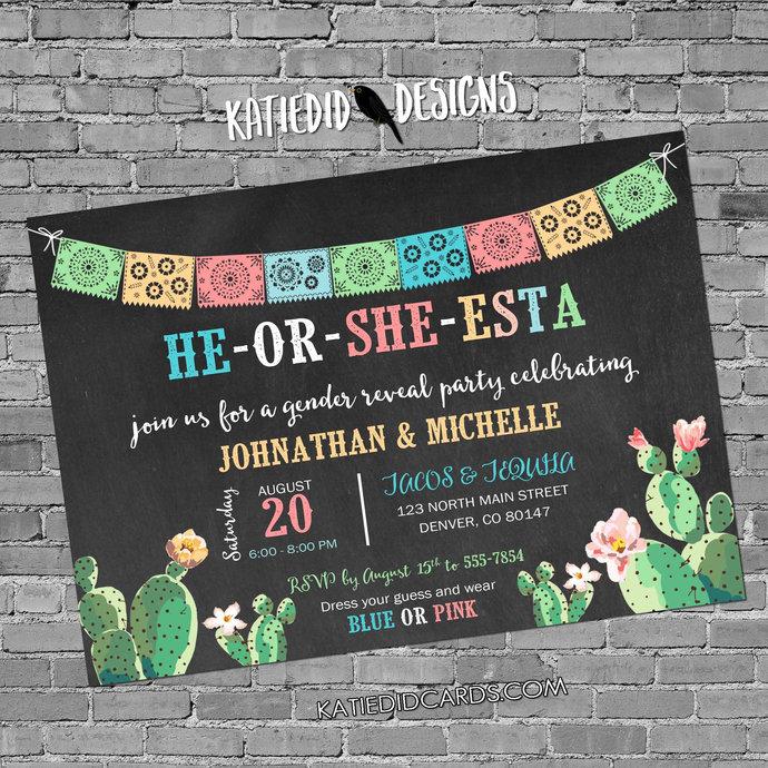 Fiesta gender reveal invitation cactus couples baby shower cinco de mayo coed
