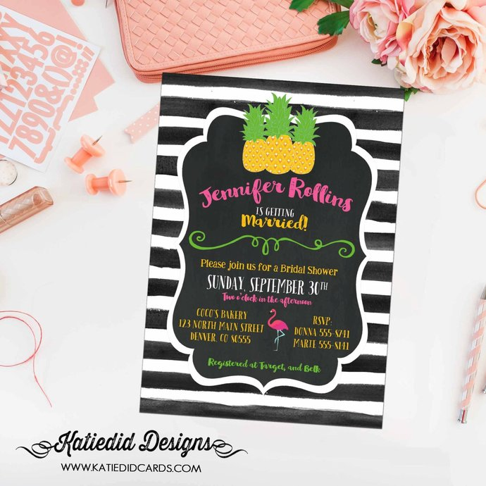 aloha luau pineapple Hawaiian invitation coed baby shower flamingo couples