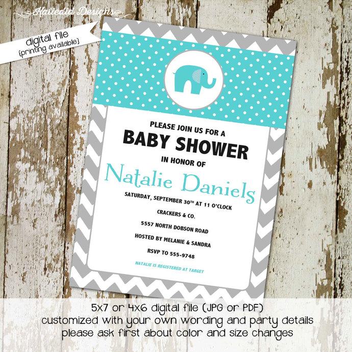 Elephant Baby Shower Invitation Boy By Katiedid Designs On Zibbet