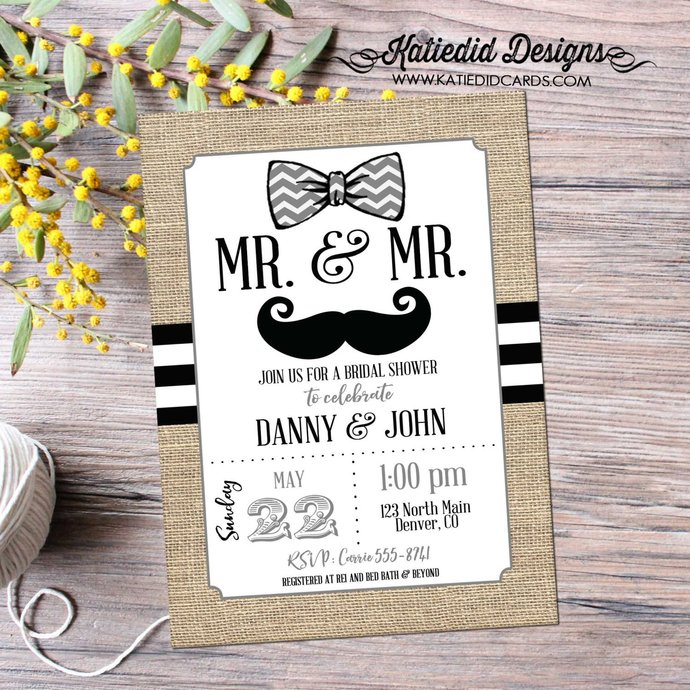 bow tie couples shower Invitation mustache two grooms Bridal gay wedding rustic