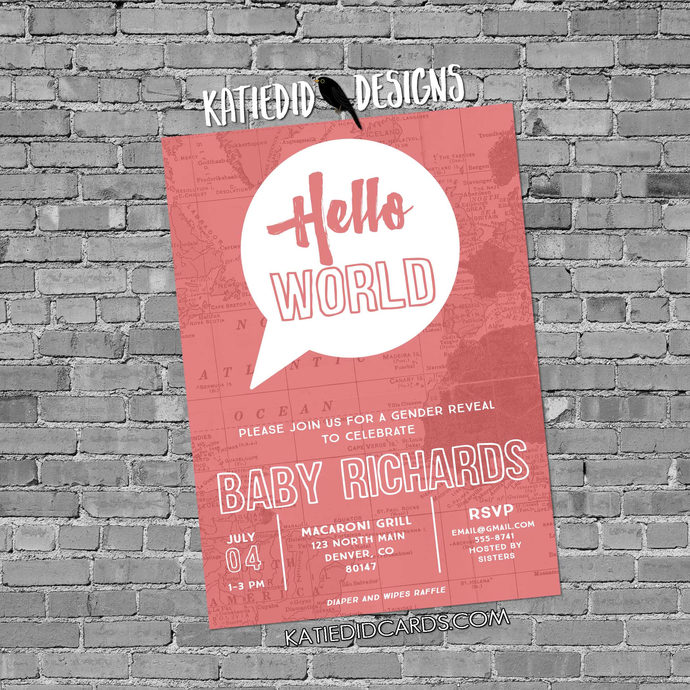 Travel theme baby shower invitation hello world map couples coed gender reveal