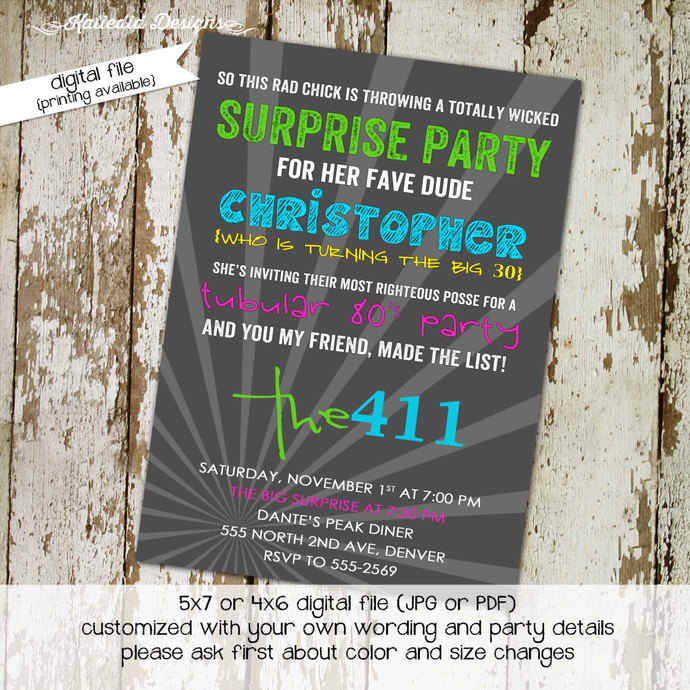 80s party invitation Stock the bar couples shower Totally 30th 40th 50th