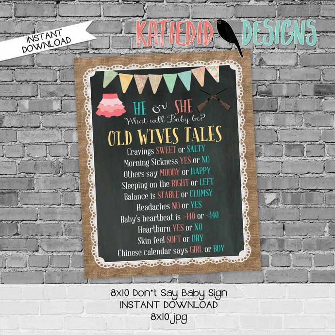 Old wives tales sign rifles or ruffles gender reveal invitation couples baby