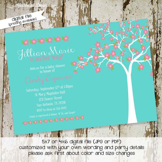 Cherry blossom baby shower invitation first communion memorial announcement