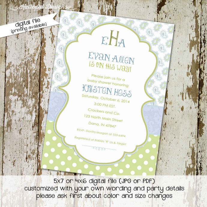 Monogram Baby Shower Invitation Mimosas Brunch Boy Sprinkle Sip And See Couples Coed Diaper Wipes Paisley Blue Green