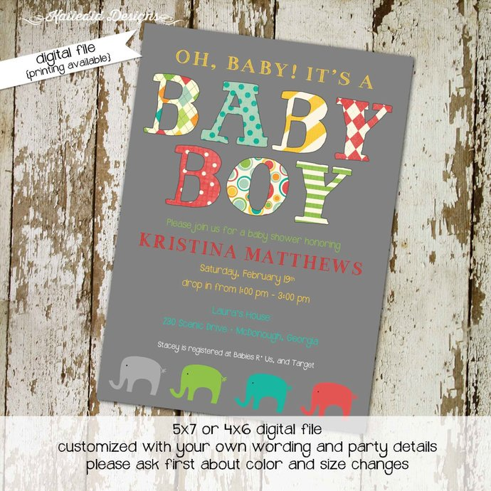 elephant baby shower invitation gender reveal neutral couples coed diaper wipes