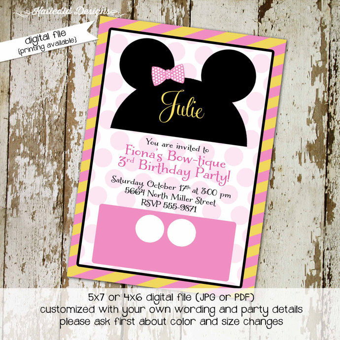 Mickey mouse birthday invitation Disney baby shower minnie girl oh toodles