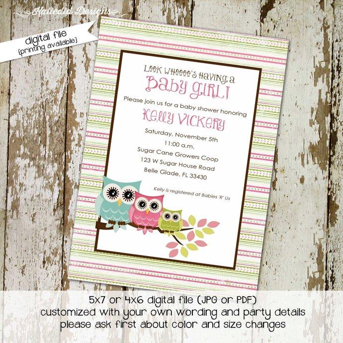 gender reveal invitation owl baby shower couples coed sprinkle neutral sip see