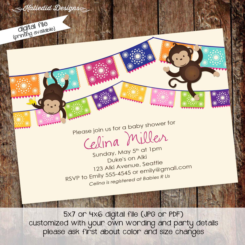 Fiesta Invitation Gender Reveal Monkey Couples Baby Shower Papel Picado Neutral Birthday Twins Coed Sprinkle Sip See