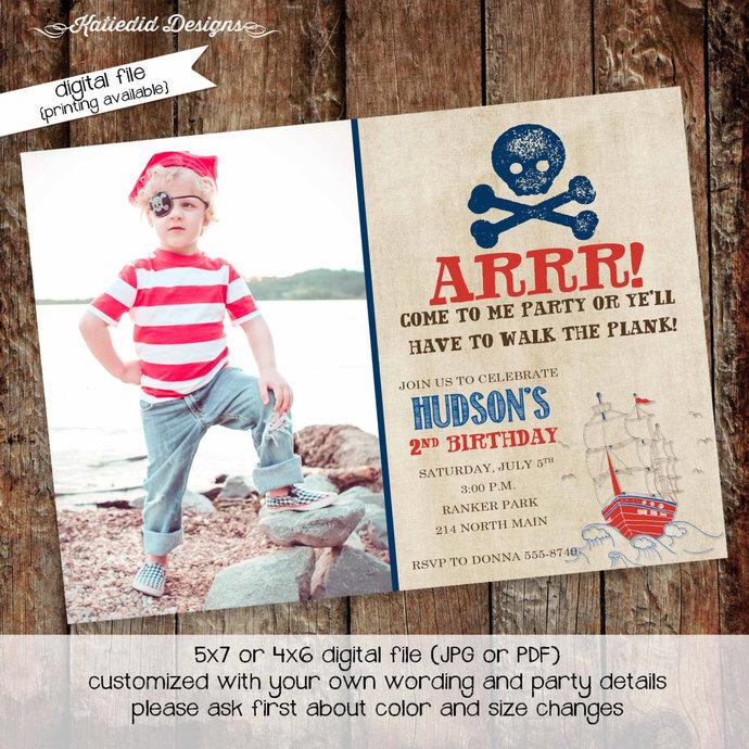 Pirate Birthday Invitation Picture Ultrasound Photo Rustic Skull Bones Ship Baby