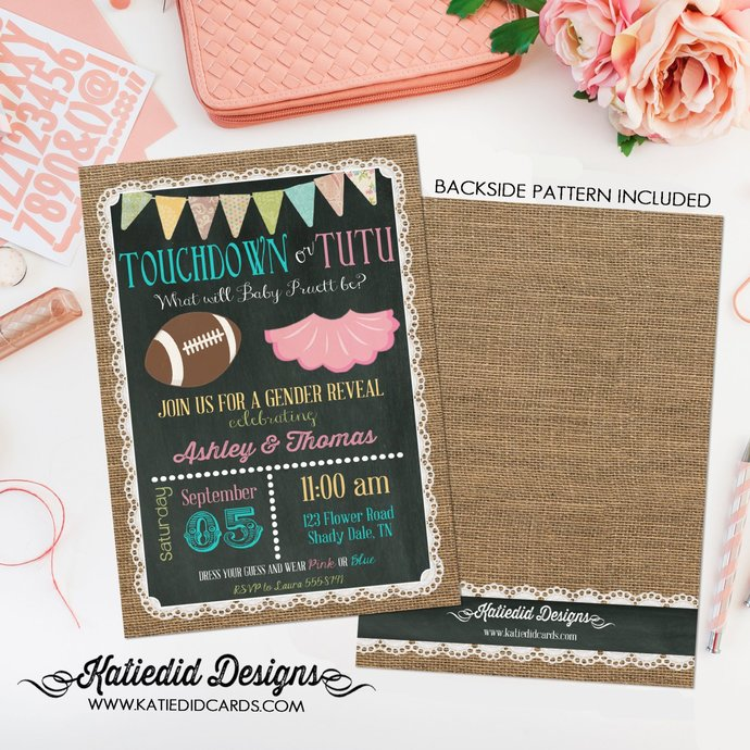 football Couples gender reveal invitation twins touchdown tutu coed baby shower