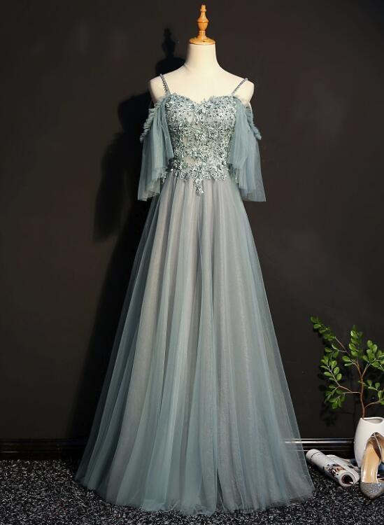 Lovely Tulle Off Shoulder Long Prom Gown, Elegant Unique Party Dress