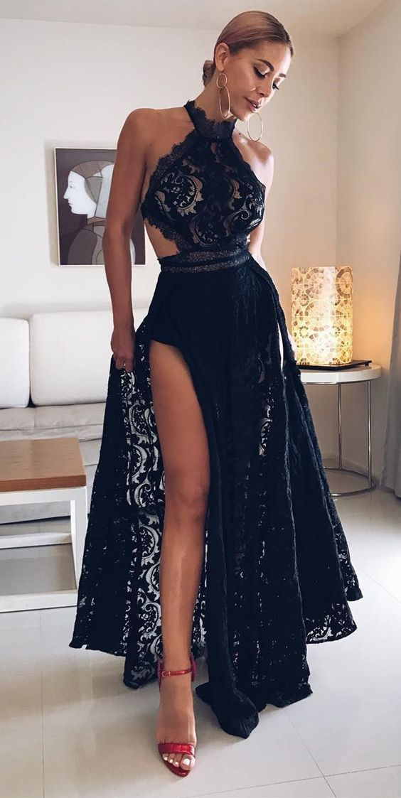 b69a2505ea5e elegant black lace prom dresses with backless, fashion formal split evening