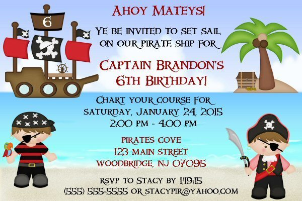 Pirate Printable Birthday Invitation, Treasure, Ship, High Seas, DIY
