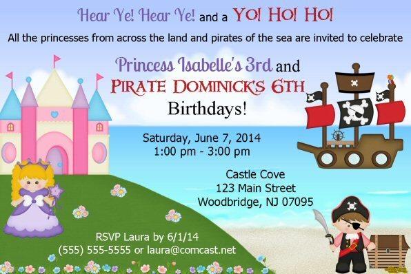 Princess Pirate Printable Birthday Invitation, Castle, Jewels, Treasure, Pirate