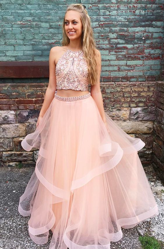 09bc0853122af princess two piece pink long prom dress with sparkle top, 2019 prom dress,