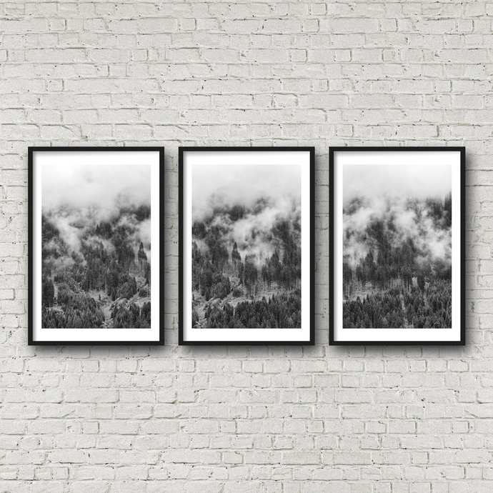Printable Art, Scandinavian Print, Set of 3 Prints, Forest Poster, Pine Tree