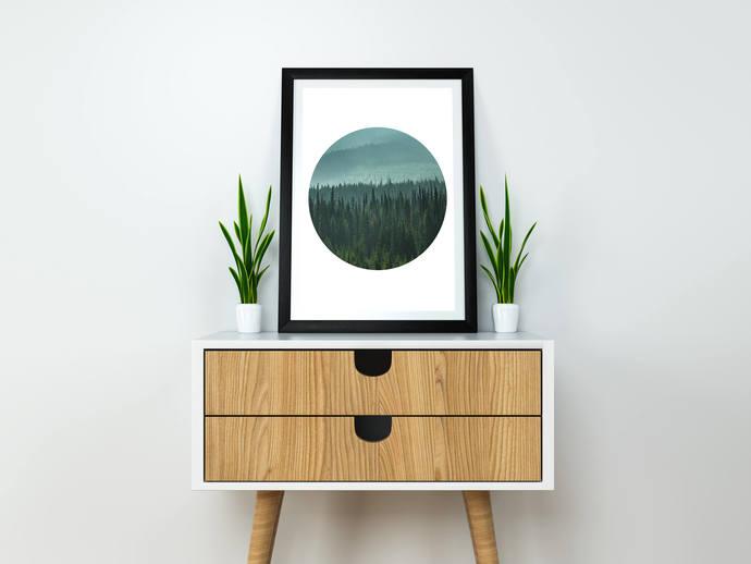 Circle Print, Printable, Foggy Art, Digital Print, Minimalist Print