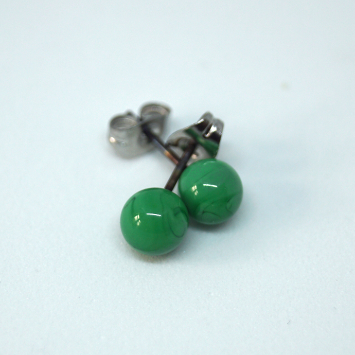 Tiny ball ear studs in malakit green