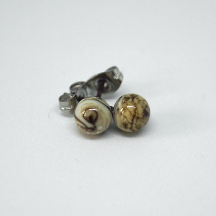 Small Ball ear stud, organic stone grey