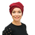 Tie turban chemo hat - in super rich red / teal for womens' hair loss, alopecia,