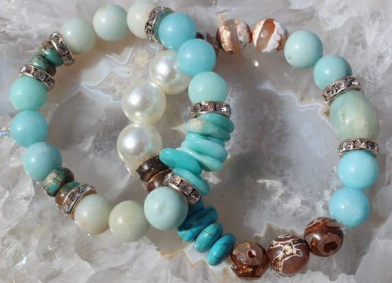 Gorgeous Beaded Bracelet Set Stretch Dzi Amazonite turquoise Pearls rhinestones