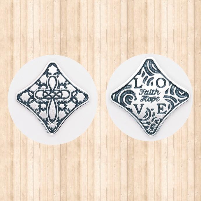 """Sterling Silver Pocket Cross. """"Faith, Hope, LOVE"""""""