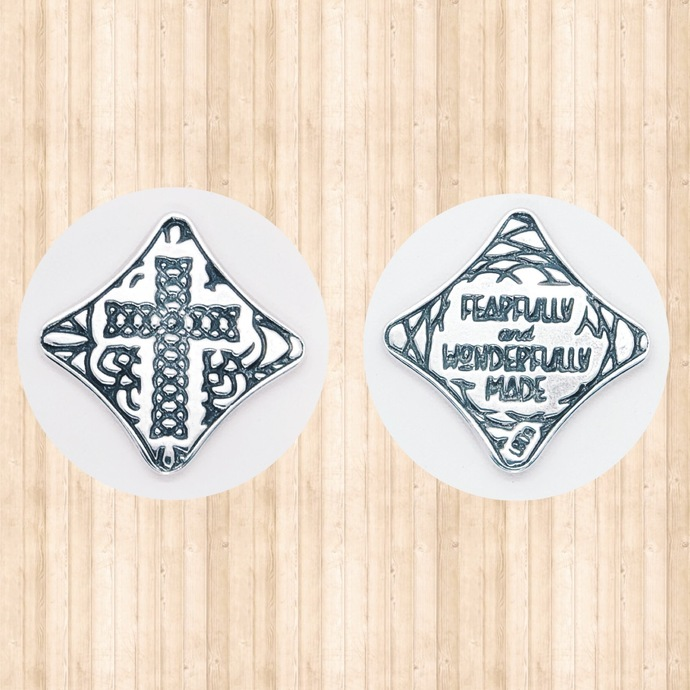 """Sterling Silver Pocket Cross. """"Fearfully and Wonderfully Made"""""""