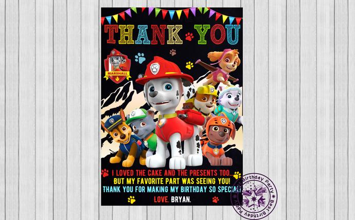 Paw patrol thank you cards, Marshall Paw Patrol birthday Thank You Cards,
