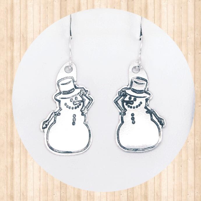 Sterling Silver Dangle Earrings with Friendly Snowmen