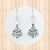 Sterling Silver Drop Earrings with Christmas Tree Design