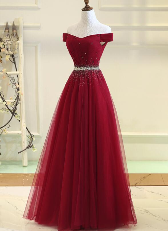 15d070e1390 Red Off Shoulder New Style Prom Gown 2019