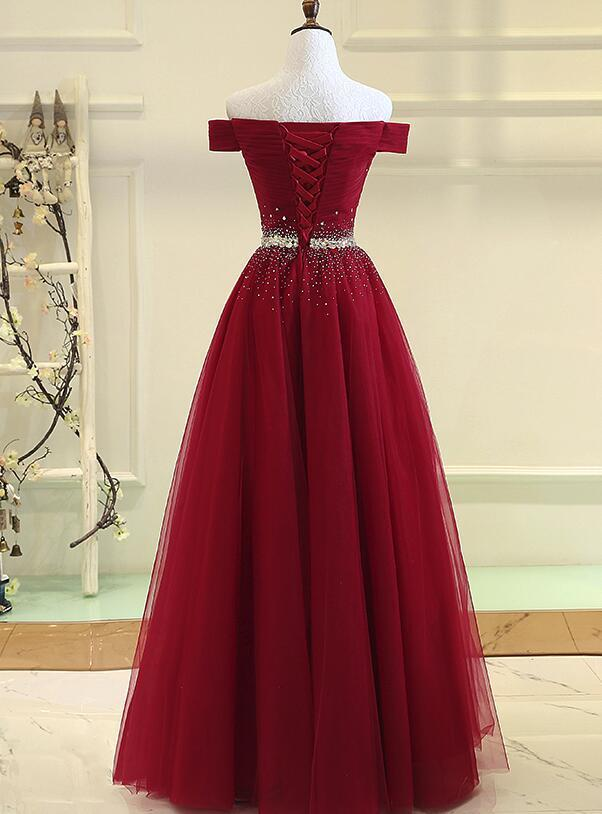 Red Off Shoulder New Style Prom Gown 2019, Red Formal Dresses