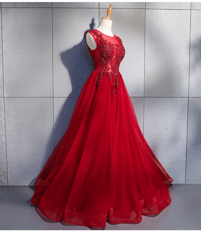 Charming Tulle Applique A-line Prom Gown, Beautiful Red High Quality Party Dress